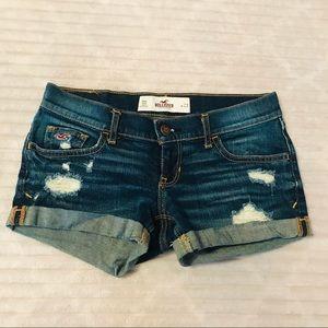 Hollister Destructed Denim Distressed Jean Shorts